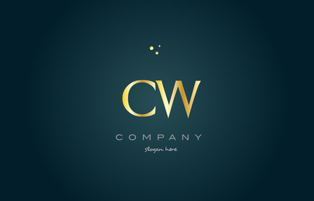 cw c w gold golden luxury product metal metallic alphabet company letter logo design vector icon template green background
