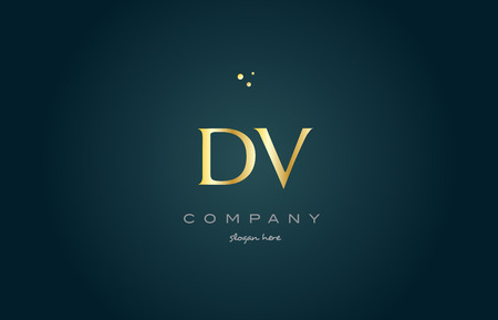 dv d v gold golden luxury product metal metallic alphabet company letter logo design vector icon template green background