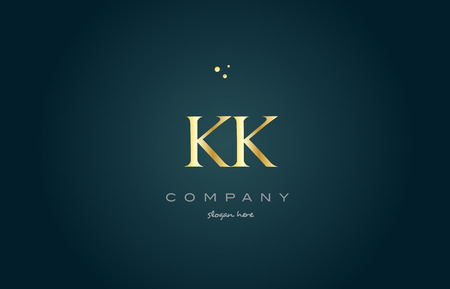 kk k k  gold golden luxury product metal metallic alphabet company letter logo design vector icon template green background Ilustração