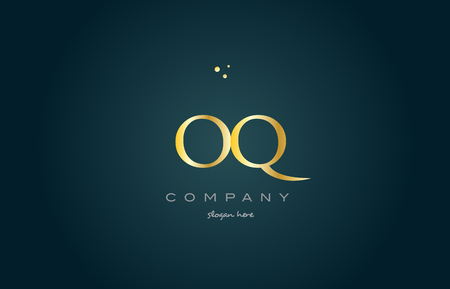 oq o q  gold golden luxury product metal metallic alphabet company letter logo design vector icon template green background