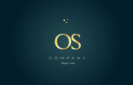 os o s  gold golden luxury product metal metallic alphabet company letter logo design vector icon template green background Illustration