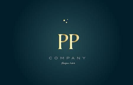luxo: Pp p ouro dourado produto de luxo metal metálico alfabeto empresa carta logotipo design vetor ícone modelo fundo verde