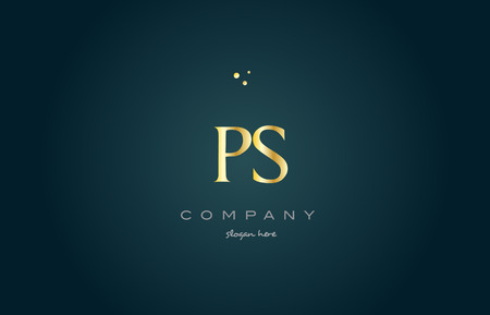 ps p s  gold golden luxury product metal metallic alphabet company letter logo design vector icon template green background Illustration