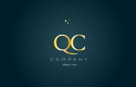 qc: qc q c  gold golden luxury product metal metallic alphabet company letter logo design vector icon template green background Illustration