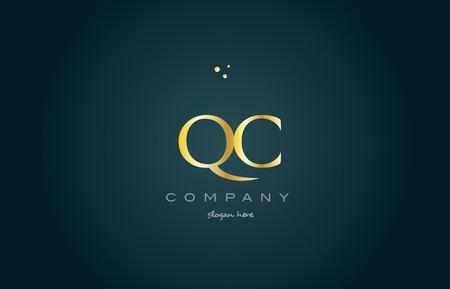 luxo: Qc qc ouro dourado produto de luxo metal metálico alfabeto empresa carta logotipo design vector ícone modelo fundo verde