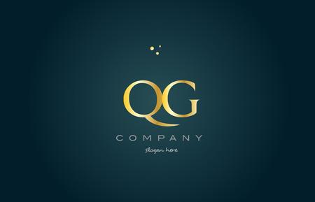 luxo: qg q g  gold golden luxury product metal metallic alphabet company letter logo design vector icon template green background