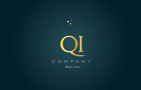 qi q i  gold golden luxury product metal metallic alphabet company letter logo design vector icon template green background