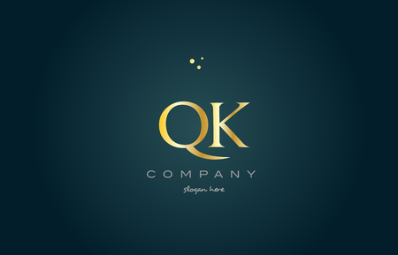 luxo: Qk qk ouro dourado produto de luxo metálico alfabeto metálico letra da carta logotipo vetor ícone modelo fundo verde