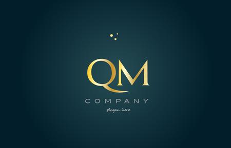 qm q m  gold golden luxury product metal metallic alphabet company letter logo design vector icon template green background Ilustração