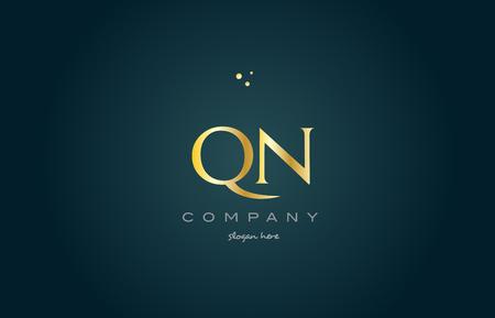 luxo: qn qn ouro dourado produto de luxo metal metálico alfabeto empresa carta logotipo design vetor ícone modelo fundo verde Ilustração