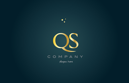 qs: qs q s  gold golden luxury product metal metallic alphabet company letter logo design vector icon template green background Illustration
