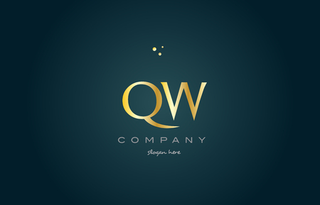 qw q w gold golden luxury product metal metallic alphabet company letter logo design vector icon template green background
