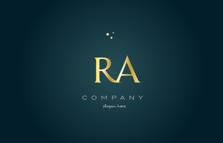 ra r q  gold golden luxury product metal metallic alphabet company letter logo design vector icon template green background