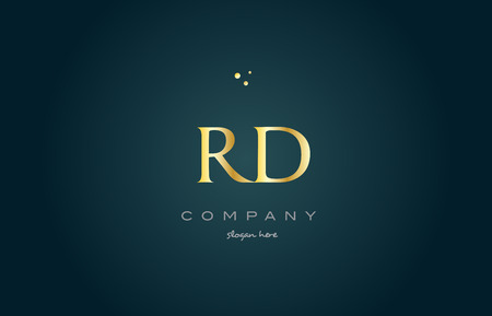 rd r d gold golden luxury product metal metallic alphabet company letter logo design vector icon template green background