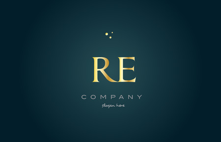 re r e gold golden luxury product metal metallic alphabet company letter logo design vector icon template green background