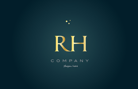 rh r h  gold golden luxury product metal metallic alphabet company letter logo design vector icon template green background