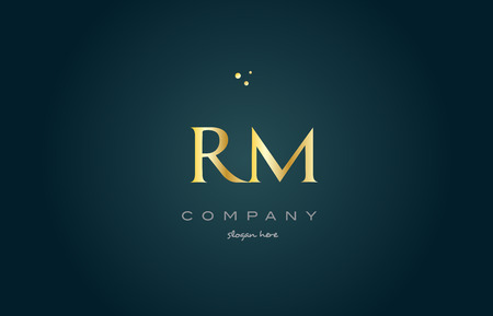 rm r m  gold golden luxury product metal metallic alphabet company letter logo design vector icon template green background Illustration