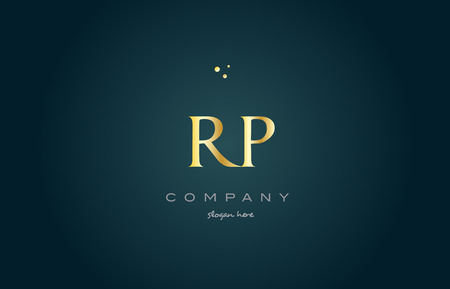 rp r p gold golden luxury product metal metallic alphabet company letter logo design vector icon template green background