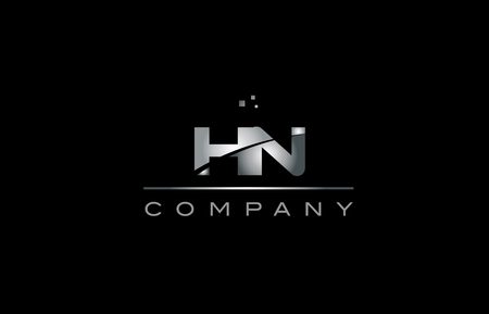 hn: hn  silver grey metal metallic alphabet technology company letter design icon template black background Illustration