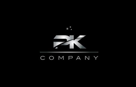pk silver grey metal metallic alphabet technology company letter design icon template black background