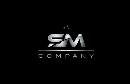sm   silver grey metal metallic alphabet technology company letter design icon template black background