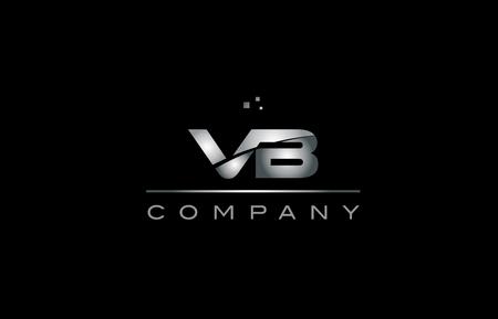 vb   silver grey metal metallic alphabet technology company letter design icon template black background