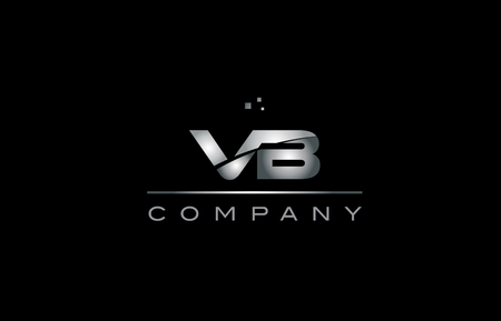vb   silver grey metal metallic alphabet technology company letter design icon template black background