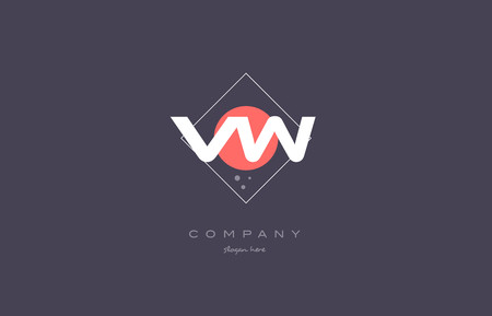 vw: vw v w  vintage retro pink purple rhombus alphabet company letter logo design vector icon creative template background