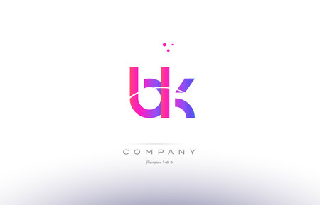 bk b k  pink purple modern creative gradient alphabet company logo design vector icon template