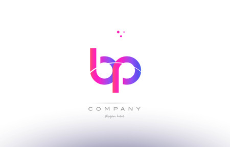 bp b p  pink purple modern creative gradient alphabet company logo design vector icon template