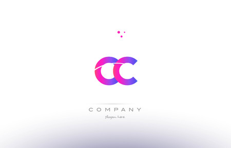 cc: cc c c  pink purple modern creative gradient alphabet company logo design vector icon template Illustration