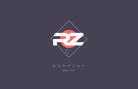rz r z vintage retro pink purple rhombus alphabet company letter logo design vector icon creative template background