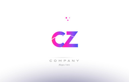 cz: cz c z  pink purple modern creative gradient alphabet company logo design vector icon template Illustration