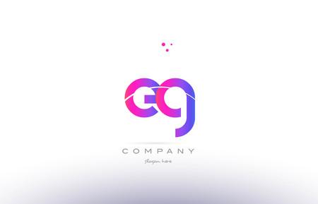eg: eg e g  pink purple modern creative gradient alphabet company logo design vector icon template Illustration