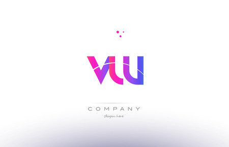 vw: vw v w  pink purple modern creative gradient alphabet company logo design vector icon template Illustration