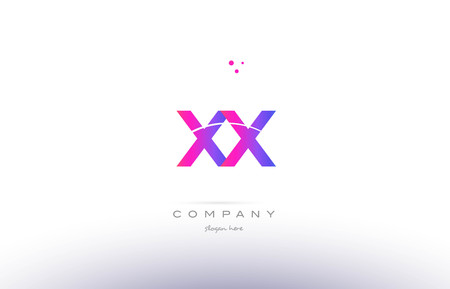 xx x x  pink purple modern creative gradient alphabet company logo design vector icon template