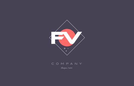 fv: fv f v  vintage retro pink purple rhombus alphabet company letter logo design vector icon creative template background