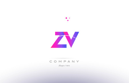 zv z v  pink purple modern creative gradient alphabet company logo design vector icon template