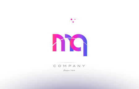 mq m q  pink purple modern creative gradient alphabet company logo design vector icon template 向量圖像