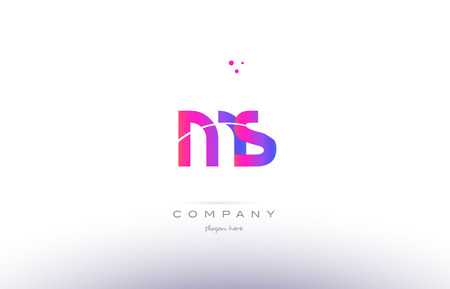 ms m s  pink purple modern creative gradient alphabet company logo design vector icon template Illustration