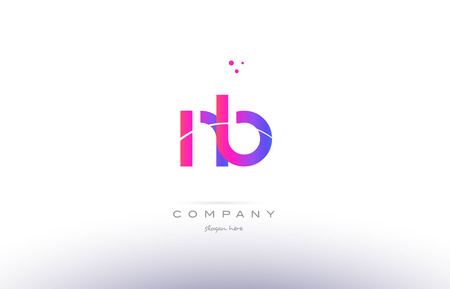 nb: nb n b  pink purple modern creative gradient alphabet company logo design vector icon template Illustration
