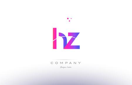 hz h z  pink purple modern creative gradient alphabet company logo design vector icon template