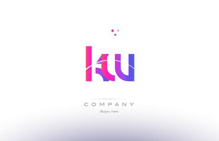 kw: kw k w  pink purple modern creative gradient alphabet company logo design vector icon template