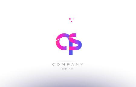 qs: qs q s  pink purple modern creative gradient alphabet company logo design vector icon template