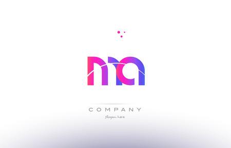 ma m a  pink purple modern creative gradient alphabet company logo design vector icon template Ilustração