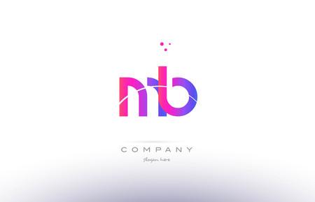 mb: mb m b  pink purple modern creative gradient alphabet company logo design vector icon template