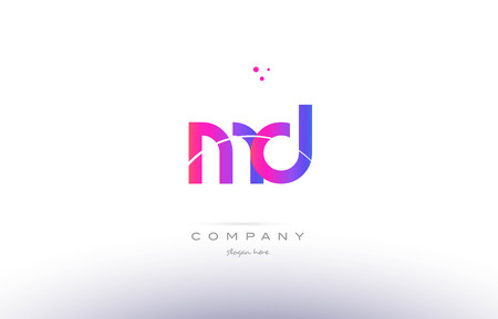 md: md m d  pink purple modern creative gradient alphabet company logo design vector icon template Illustration