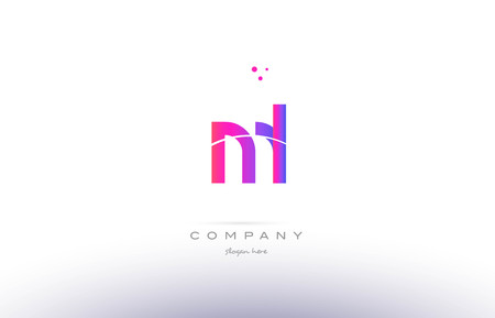 ml: ml m l  pink purple modern creative gradient alphabet company logo design vector icon template