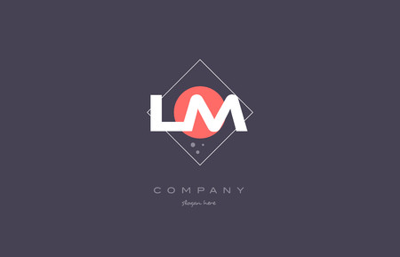 lm l m  vintage retro pink purple rhombus alphabet company letter logo design vector icon creative template background