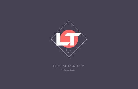 lt l t  vintage retro pink purple rhombus alphabet company letter logo design vector icon creative template background